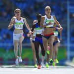 RIO DE JANEIRO, BRAZIL - AUGUST 17:  Lynsey Sharp of Great Britain leads the pack during the Women's 800m - Round 1 heats on Day 12 of the Rio 2016 Olympic Games at the Olympic Stadium on August 17, 2016 in Rio de Janeiro, Brazil.  (Photo by Shaun Botterill/Getty Images)