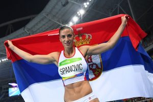 Serbia's Ivana Spanovic celebrates winning the bronze medal in the Women's Long Jump Final during the athletics event at the Rio 2016 Olympic Games at the Olympic Stadium in Rio de Janeiro on August 17, 2016. / AFP / FRANCK FIFE (Photo credit should read FRANCK FIFE/AFP/Getty Images)
