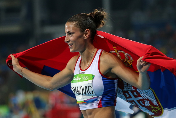 RIO DE JANEIRO, BRAZIL - AUGUST 17, 2016: Serbia's Ivana Spanovic reacts after winning bronze in the women's long jump final at the Rio 2016 Summer Olympic Games, at the Olympic Stadium. Valery Sharifulin/TASS (Photo by Valery SharifulinTASS via Getty Images)