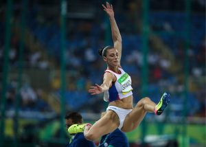 RIO DE JANEIRO, BRAZIL - AUGUST 17, 2016: Serbia's Ivana Spanovic competes to win bronze in the women's long jump final at the Rio 2016 Summer Olympic Games, at the Olympic Stadium. Valery Sharifulin/TASS (Photo by Valery SharifulinTASS via Getty Images)